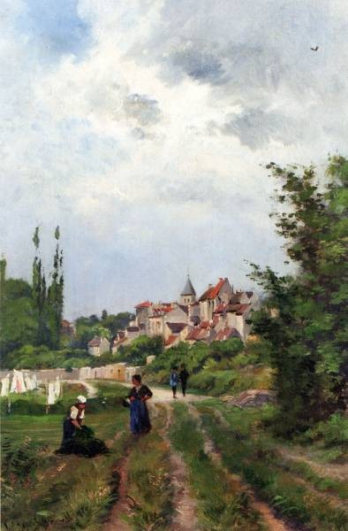 Washer Women On A Study Track With A Village Beyond
